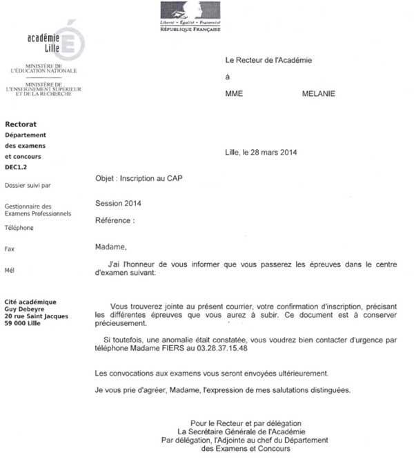 Document reçu par l'élève 2 mois avant l'examen