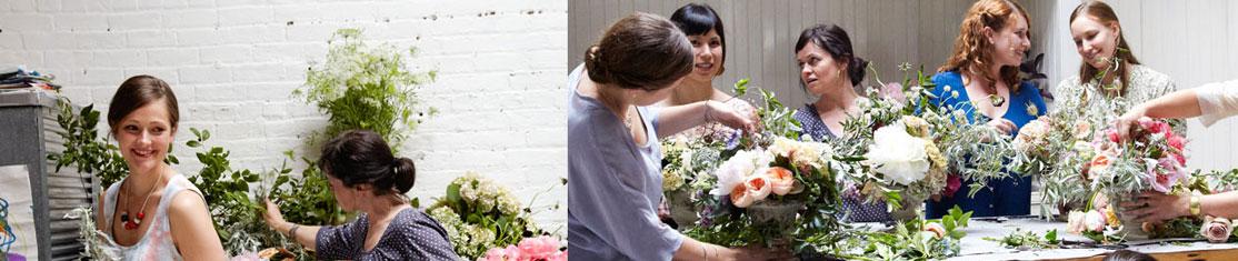 Cours de fleuristerie en groupe : création d'une composition