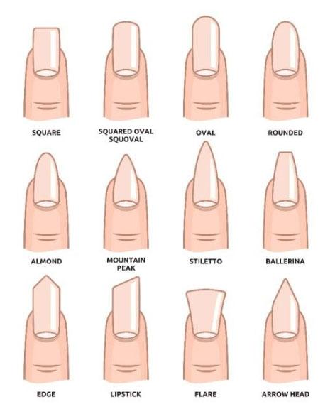 12 formes d'ongles : carré, carré arrondi, rond, oval, ballerine, diamant