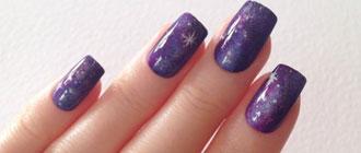 Exemple d'un nail art galaxy