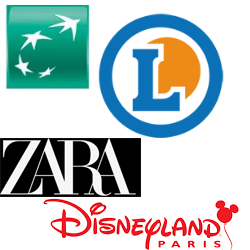 Leclerc, BNP, Zara, Disney,...